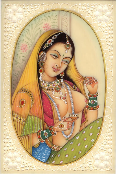 Indian Miniature Ethnic Art Handmade Princess Portrait Watercolor Folk Painting