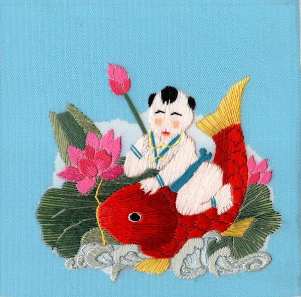 Chinese Silk Embroidery Handicraft Handmade China Nianhua Baby Fish Ethnic Art