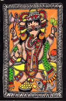 Madhubani Ganesha Indian Tribal Folk Art Handmade Mithila Bihar Ethnic Painting