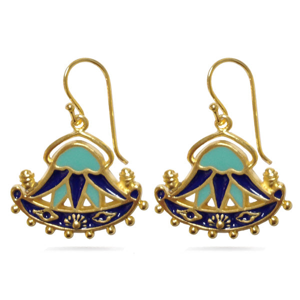 Lotus Earring With Enamel