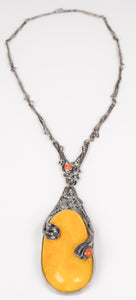 Amber & Coral Silver Necklace