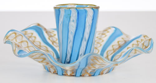 Antique Venetian Glass Set -  cup and saucer (blue, white and gold)