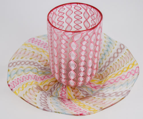 Antique Venetian Glass Set -  cup and saucer (pink, yellow and blue)