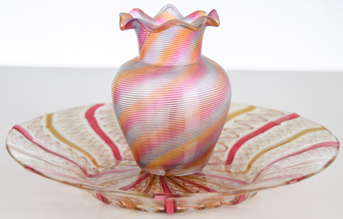 Antique Venetian Glass Set -  vase and saucer (pink and gold)