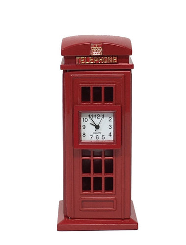 British Phone Booth Miniature Clock