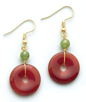 Carnelian Bi-Disc Earrings