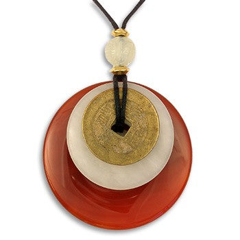 Carnelian Bi-Disc with Ancient Coin