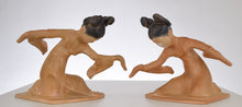 Gauche Chinoiserie Dancers Bookends