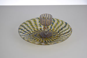 Antique Venetian Glass Set - cup and saucer (blue and gold)