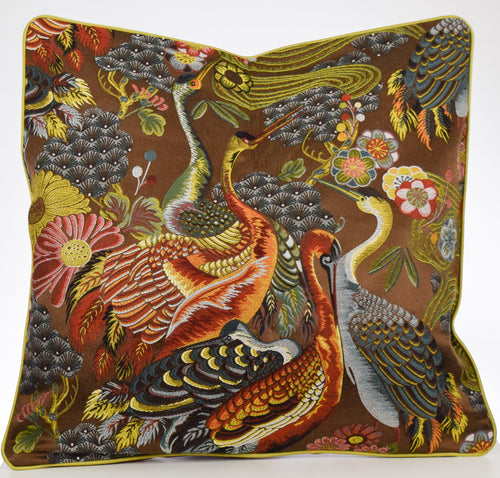 Chinoiserie Embroidered Crane Bird & Floral Pillow Cover