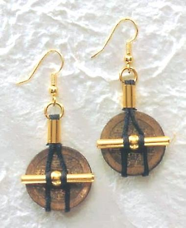 I Ching Coin with Cord Earrings