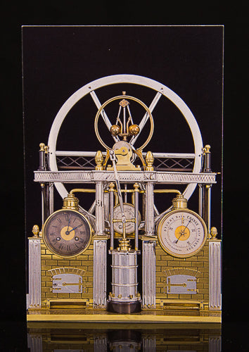 Steam Engine Automaton Clock Postcard