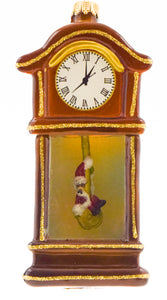 Holiday Grandfather Clock Glass Ornament