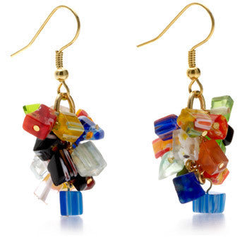 Mosaic Glass Chip Dangle Earrings