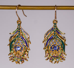 Jeweled Peacock Feather Earrings