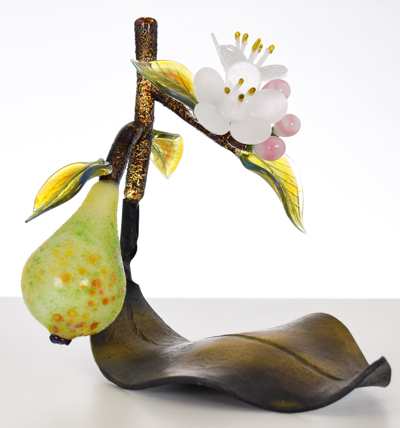 Pear with Metal Leaf Art Glass Sculpture