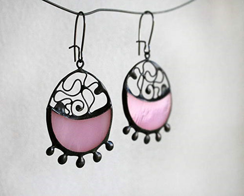 Pink Stained Glass Earrrings