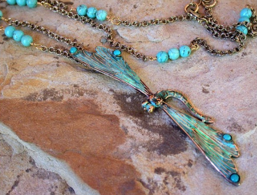 Dragonfly Brass Long Necklace Turquoise
