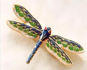 Tiffany Dragonfly Matte Brooch With Enamel