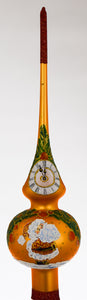 "11"" Orange Glass Santa Claus Mistletoe Clock Christmas Tree Topper"