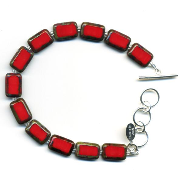 Trilogy Red Glass Tile Bracelet