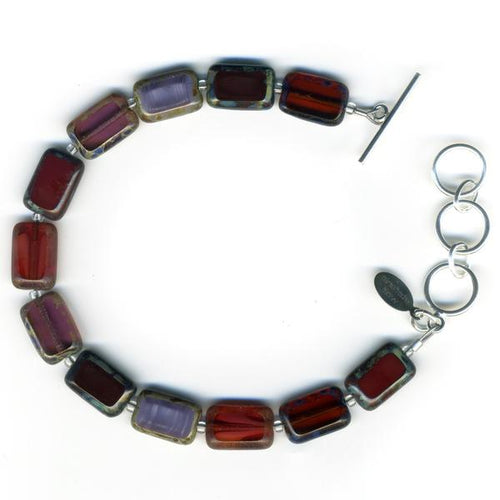 Trilogy Wine and Chocolate Glass Tile Bracelet