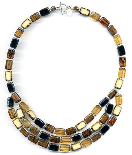 Trilogy 3-Strand Earthy Glass Tile Necklace