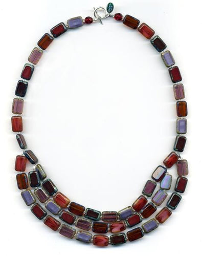 Trilogy 3-Strand Wine and Chocolate Glass Tile Necklace