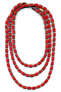 "Trilogy 60"" Red Glass Tile Necklace"
