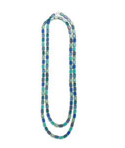 "Trilogy 60"" Teal Frost Glass Tile Necklace"