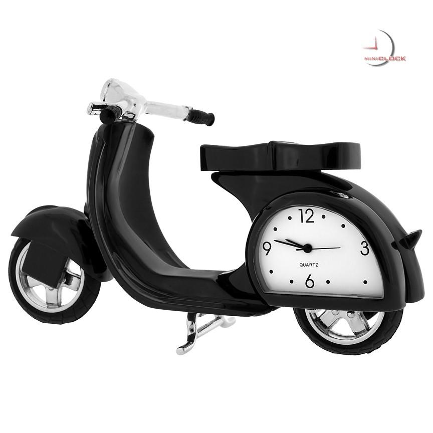 Vespa/Scooter-Black Miniature Clock