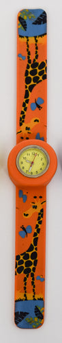 Orange Snap On Watch with Giraffe
