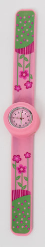 Pink Snap On Watch with Flowers