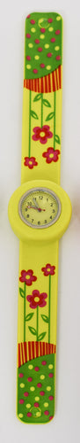 Yellow Snap On Watch with Flowers