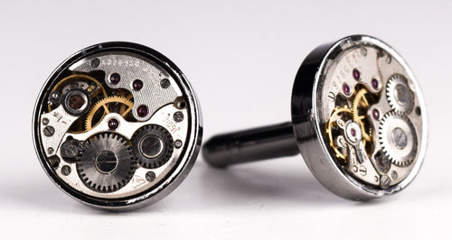 Thick Bezel Gun Metal Watch Parts Cufflinks