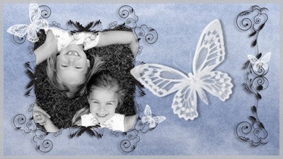Butterfly Blue Ornament Slide Style