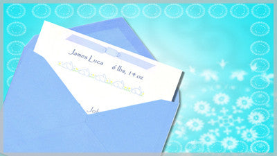 Baby Invitation Blue Slide Style