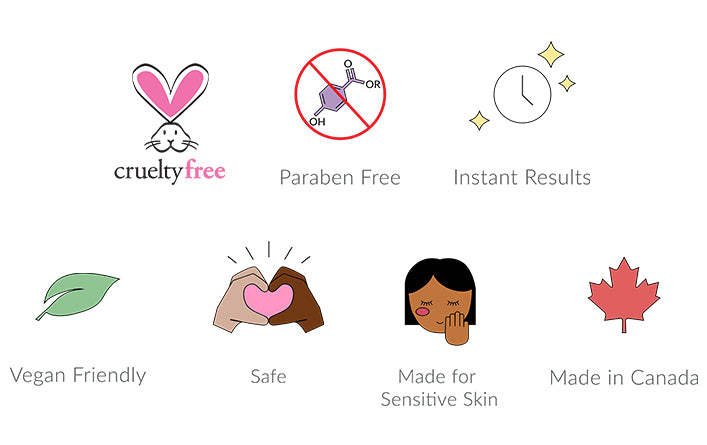 cruelty free, paraben free, instant results, vegan friendly, safe, made for sensitive skin, made in Canada