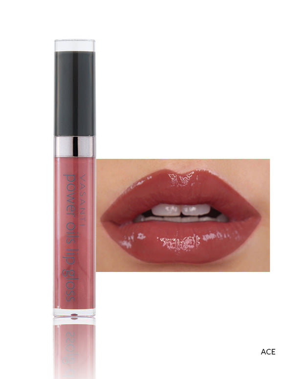 Vasanti Power Oils Lip Gloss - Shade Ace on lips and product front shot