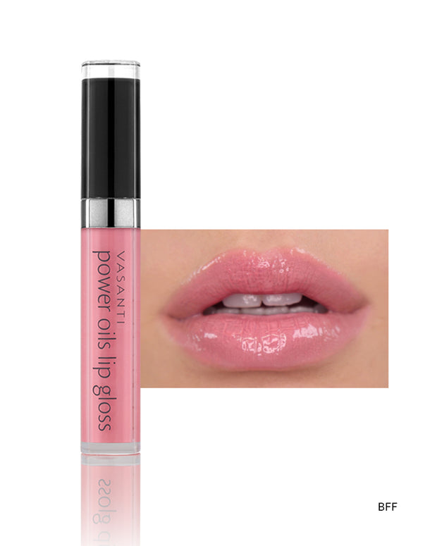 Vasanti Power Oils Lip Gloss - Shade BFF on lips and product front shot