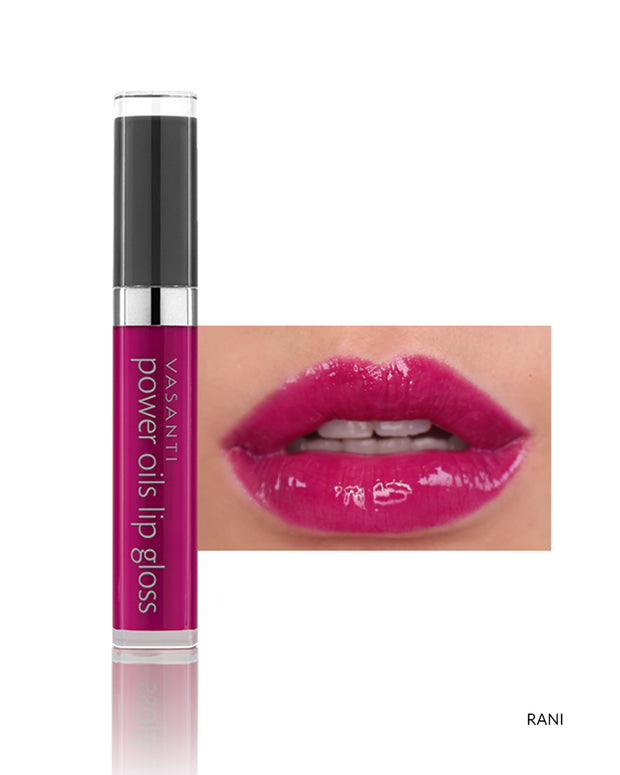 Vasanti Power Oils Lip Gloss - Shade Rain on lips and product front shot
