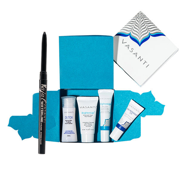 Vasanti 4-Step Skincare Travel Kit in box and Vasanti Kajal Waterline Eyeliner Black on white background