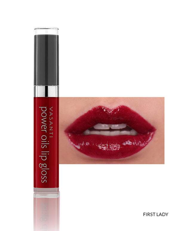 Vasanti Power Oils Lip Gloss - Shade First Lady on lips and product front shot
