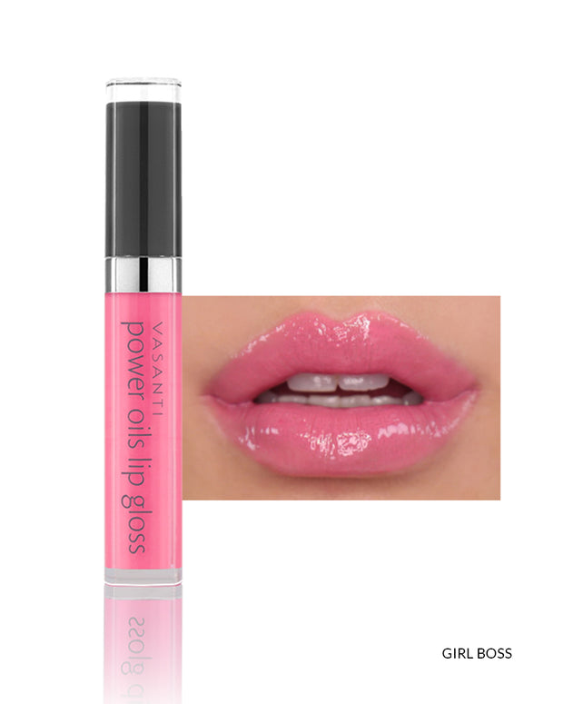 Vasanti Power Oils Lip Gloss - Shade Girl Boss on lips and product front shot