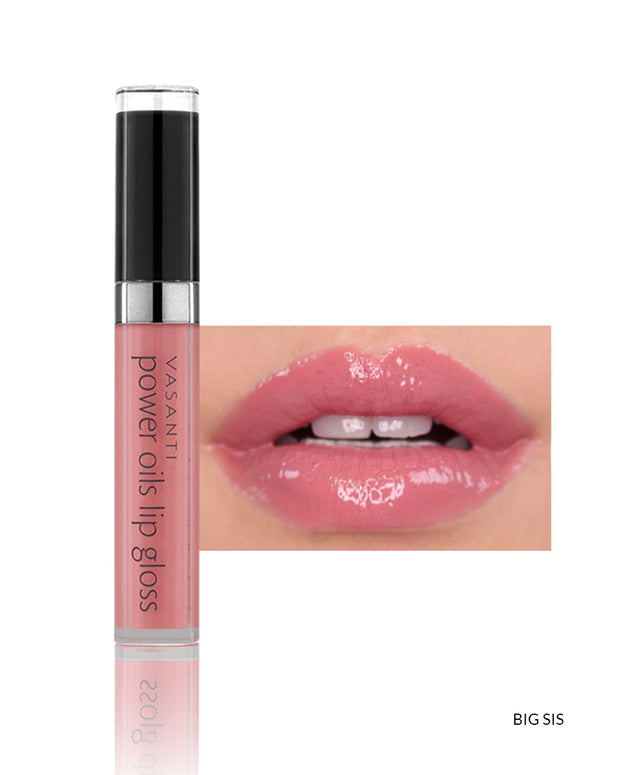 Vasanti Power Oils Lip Gloss - Shade Big Sis on lips and product front shot