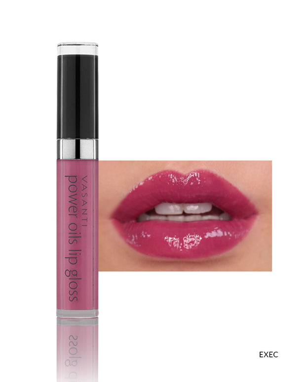 Vasanti Power Oils Lip Gloss - Shade Exec on lips and product front shot