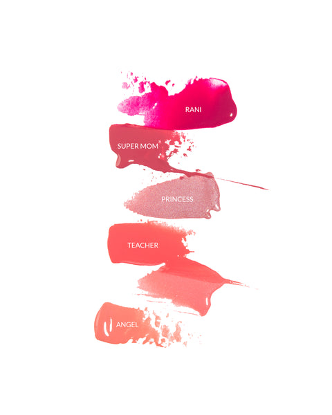 Vasanti Power Oils Lip Gloss swatches with label on white background
