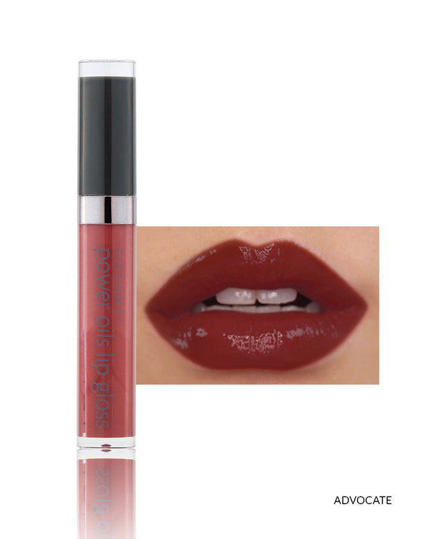 Vasanti Power Oils Lip Gloss - Shade Advocate on lips and product front shot