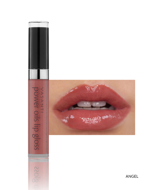 Vasanti Power Oils Lip Gloss - Shade Angel on lips and product front shot