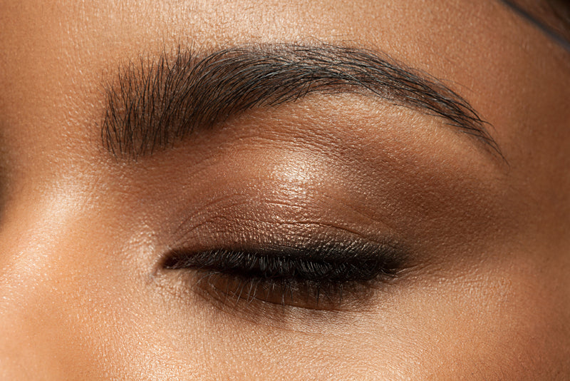 Extreme closeup of an eyelid wearing Vasanti Kajal X Kolors Eyeshadow Palette